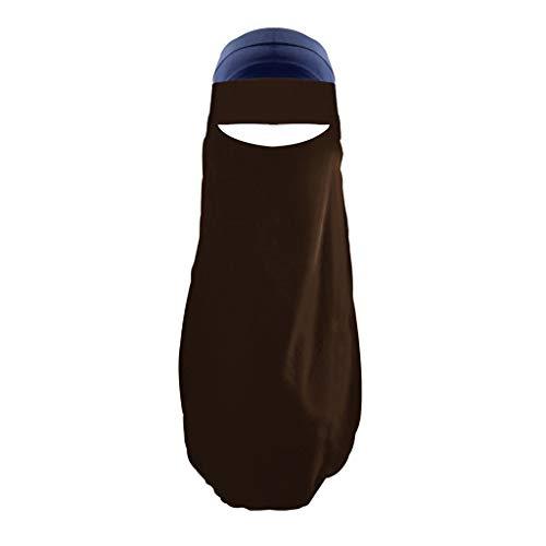 Lazzboy Frauen Indien Hut Muslim Rüschen Krebs Chemo Beanie Wrap Cap Schal Schal Niqab Dreilagig - Hijab Gesichtsschleier Islamische Gebetskleidung(Kaffee)