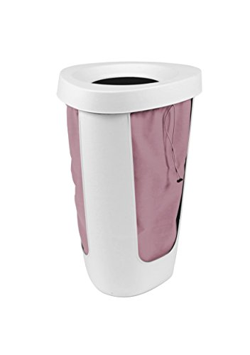 Rotho Fabu Wäschesammler, Kunststoff mit herausnehmbarem Wäschesack, weiß/rosa, 50 Liter (40,8 x 40 x 62,1 cm)