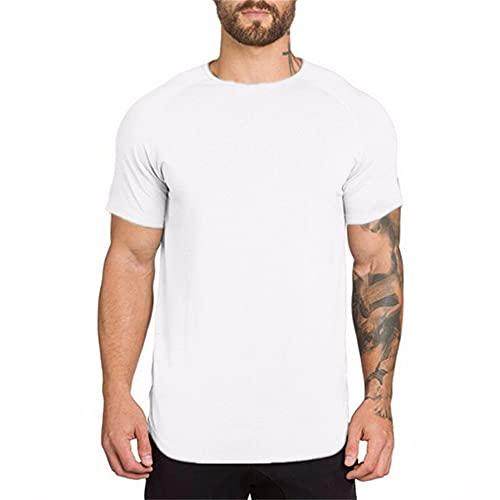 Musculosa Shirt Hombre Básica Cuello Redondo Ajuste Delgado Hombre T-Shirt Color Sólido Manga Corta Compresión Shirt Wicking Transpirable Secado Rápido Deportiva Camisa A-White XL