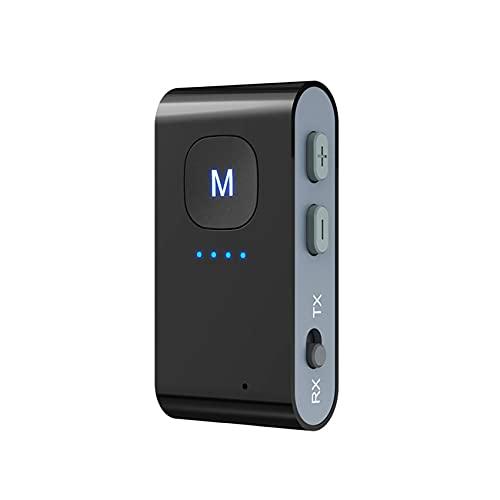 Rpanle Receptor Transmisor Bluetooth, 3-en-1 Inalámbrico Adaptador Portátil Bluetooth 5,0, Lector de Tarjetas TF, para PC/TV/Auriculares/Altavoces/Estéreo/Radio