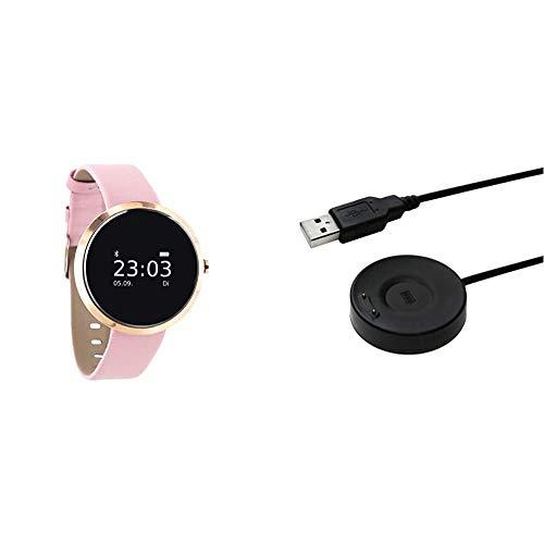 X-WATCH SIONA Smartwatch Damen iOS und Android Watch - Damenuhr rosegold Aktivitätstracker Damen elegant Fitnessarmband mit Herzfrequenz Fitness Uhr mit Schrittzähler & Smartwatch Ladekabel