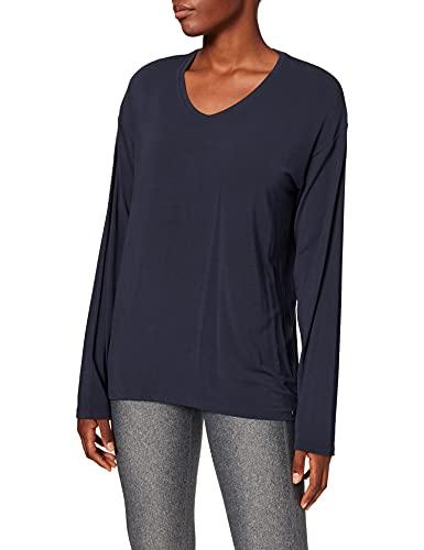 Schiesser Damen Mix & Relax Shirt 1/1 Arm Schlafanzugoberteil, Blau (Nachtblau 804), 40