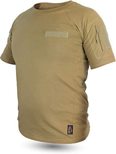 normani Taktisches Tropen T-Shirt mit Armtaschen, Unterarmtaschen und 3 Klettpatchflächen Farbe Khaki Größe L