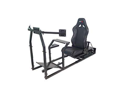GTR Simulator - GTM Motion Cockpit w/Real Racing Seat for Racing Simulator Flight Simulator & Driving Simulator Games. Includes Triple Monitor Mounts (Black Frame + Black Gaming Chair)