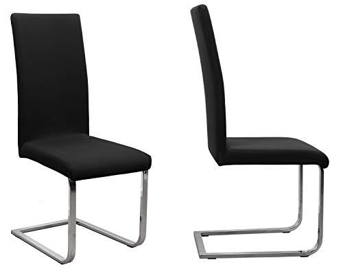 BEAUTEX 2er Set Jersey Stuhlhusse (Farbe wählbar), elastische Uni Stretch-Husse aus Baumwolle Bi-Elastisch (Schwarz)