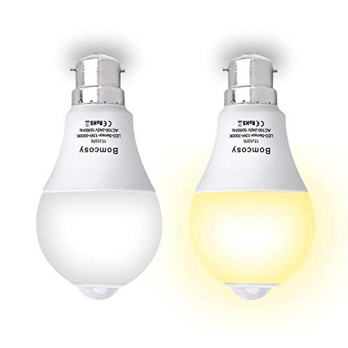 Ampoule Détecteur de Mouvement, Bomcosy Ampoule LED B22 13W Blanc Chaud 3000K avec Capteur de Mouvement Auto On/Off Ampoule Allumage Automatique Escalier Garage Couloir Passerelle Jardin Lot de 2