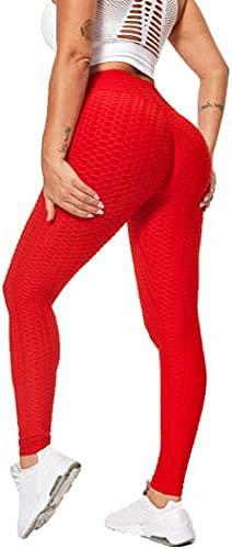VORCY Polainas de yoga para levantamiento de glúteos para mujer, cintura alta, pantalones de yoga de panal, polainas anti celulitis, gimnasio arrugado botín polainas de control de barriga, 2# Rojo, L