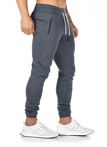 Ehpow Herren Jogginghose Cargo Chino Fitness Slim Fit Hosen Joggers Streetwear Sporthose Freizeithose (S-dunkelgrau, X-Large)