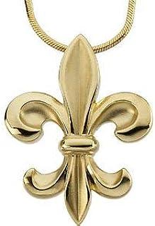 Pendentif en or jaune 14 carats Fleur de lys sur disque ovale