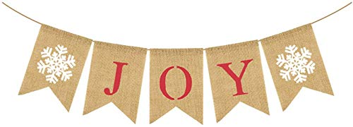 Burlap Joy Banner   Christmas Bunting Banner Holiday Banner Rustic Decorations Home Mantle Fireplace Decoration for Xmas Party Photo Prop