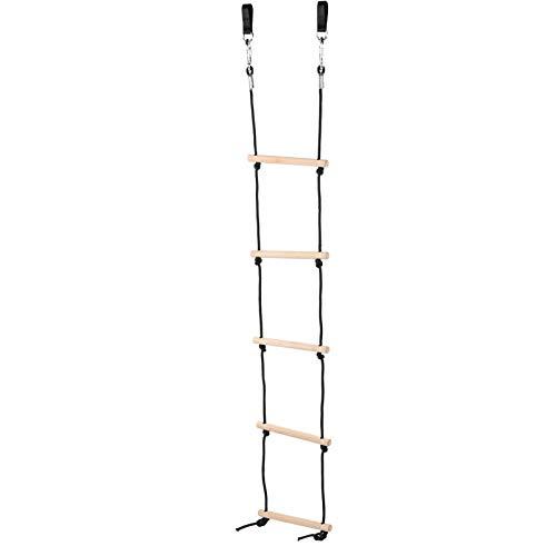 DAUERHAFT Escalera de Cuerda para niños Escalera de Cuerda de Madera Escalera de Cuerda para niños al Aire Libre no tóxica