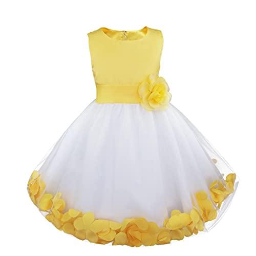 Freebily Vestito da Cerimonia Bambina Lungo Elegante Tulle Petali di Rosa Abito da Principessa Battesimo Abito Damigella Vestito da Sposa Matrimonio Colorati Comunione Giallo 8 Anni