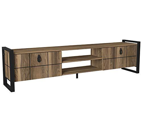 Alphamoebel moebel17 5217 Lost Wohnwand Tv Board Lowboard Fernsehtisch Tisch Sideboard Metallfüße, Wohnzimmer, Walnuss Braun, viel Stauraum, 184,5 x 34 x 45 cm