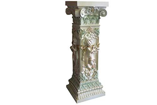Antikes Wohndesign Engelssäule Blumensäule Säule mit Engel Motiv Elfensäule Elfe Barocksäule Dekosäule