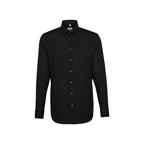 Seidensticker Herren Business Hemd Shaped Fit Businesshemd, Schwarz (Schwarz 39), (Herstellergröße: 43)