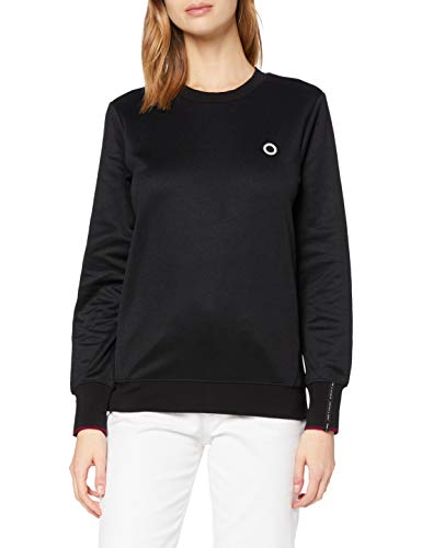 Scotch & Soda Maison Womens Rundhalsausschnitt und Logo Sweatshirt, 0008 Black, S