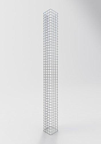 GABIONA Säule Steinkorb-Gabione eckig, Maschenweite 5 x 5 cm, Höhe 230 cm, Spiralverschluss, galvanisch verzinkt (22 x 22 cm)