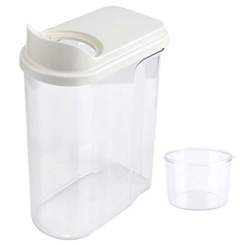 Conkergo 2.5L Impermeable Sellado De Alimentos De Grano De Almacenamiento De Almacenamiento Tarro Transparente Dispensador De Cereales (Blanco)