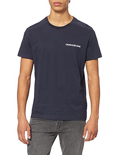 Calvin Klein Chest Institutional Slim SS Tee T-Shirt, Blu (Night Sky 402), Medium Uomo
