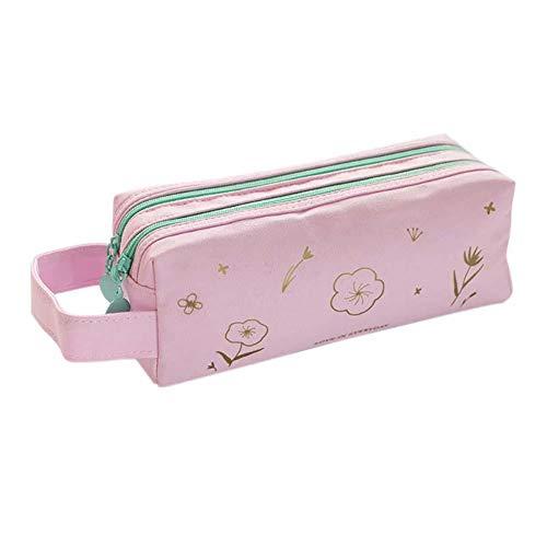 Weimay - Estuche para niña de gran capacidad de lienzo, estuche para lápices, escuela, adolescentes, para mujeres y niñas (rosa)