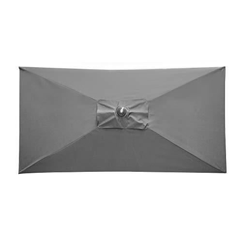 paramondo parajuna Sonnenschirm Kurbelschirm, Stabiler Stahlmast, Wasserabweisende Bespannung, Rechteckig, 2,3 x 1,3 m, Grau, Gestell/Schirmmast in Anthrazit