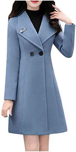 Button Woolen Jacket Women Work Solid Vintage Winter Office Long Sleeve Coat