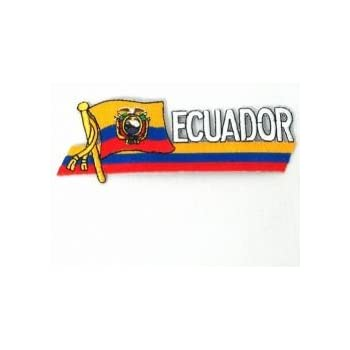 ECUADOR SIDEKICK WORD COUNTRY FLAG IRON-ON PATCH CREST BADGE 1.5 X 4.5 IN.