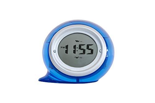 FACKELMANN 63601 wasserbetriebene Uhr Tecno, Tischuhr mit Weckfunktion, umweltfreundliche Digitaluhr (Farbe: Blau), Menge: 1 Stück, Kunststoff