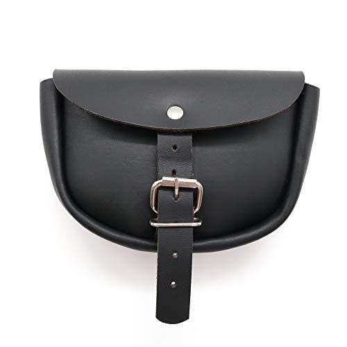 Mythrojan Handmade Medieval Leather Belt Bumbag Pouch Purse for Weekend Events and Festivals - Black