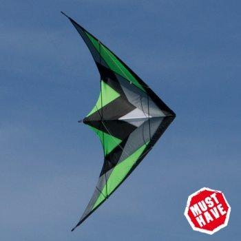 CIM Lenkdrachen - Katana MUSTHAVE Green - Kite für leichten bis kräftigen Wind - Abmessung: 170x90cm - inkl. Steuerleinen auf Rollen