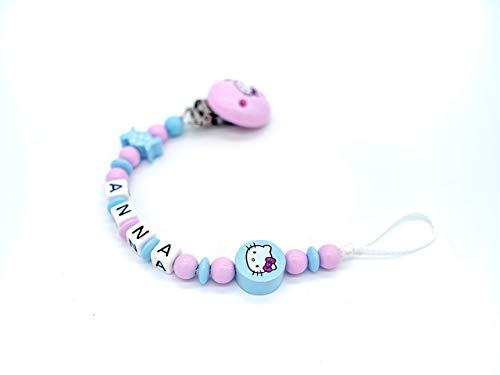 Schnullerkette Hello Kitty, rosa, Baby, Schnullerkette mit Namen, personalisierbar