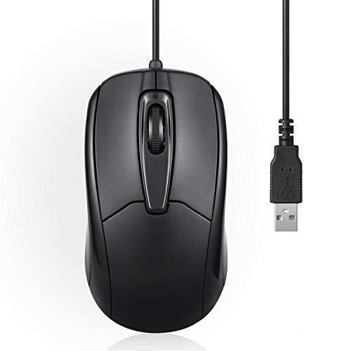 Perixx PERIMICE-209 Optical Business - Ratón óptico (USB, Cable de 80 m, 1000 PPP), Color Negro
