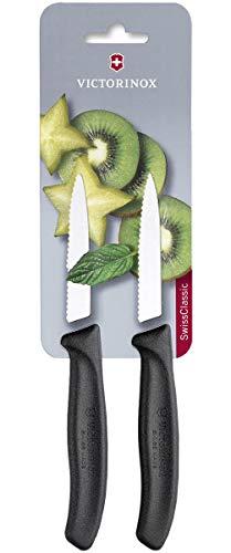 Victorinox Swiss Classic 2er Set Gemüsemesser mit Wellenschliff, 8 cm Klinge, Mittelspitz, Spülmaschinengeeignet, Edelstahl, schwarz