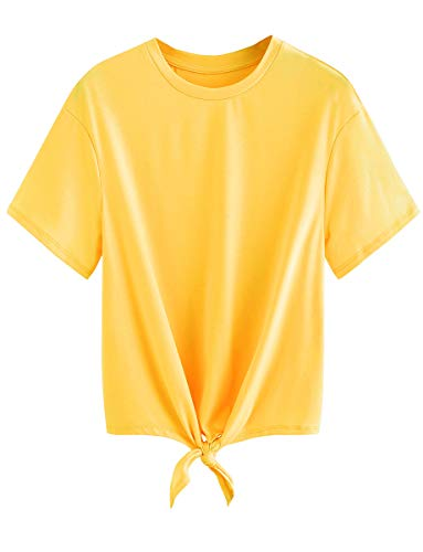Romwe Women's Short Sleeve Tie Front Knot Casual Loose Fit Tee T-Shirt Yellow M