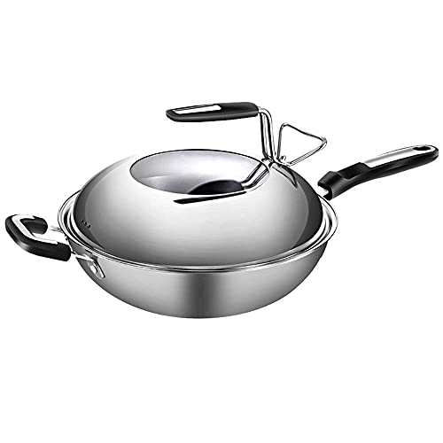 JiangKui Cooks Standard Stainless Steel Stir Fry Pan with Dome Lid Multi-Ply Clad Wok Frying Pan Free Send SpongeB