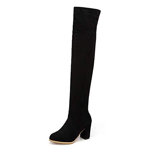 CuteFlats - Botas sexys para Mujer con tacón en Bloque, Color Negro, Talla 41 EU