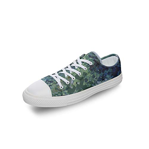 WEIFLY Unisex Teen Adults Camouflage Pattern Sneakers GraphicsComfy Low Top Lace up Gym Tennis Athletic Canvas Shoes for Nurses White 36