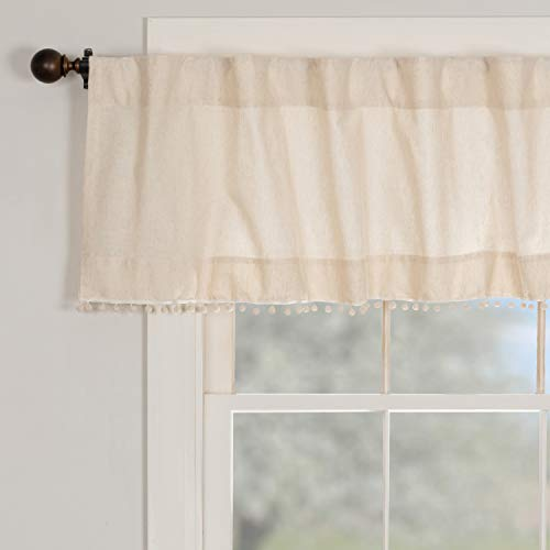 """Olivia Valance w/ Macrame Pompom Accent, 72"""" Wide x 16"""" Long, Natural Cream Linen/Cotton Kitchen or Bedroom Curtains, Boho, Modern Country, Vintage Cottage, Farmhouse Style"""