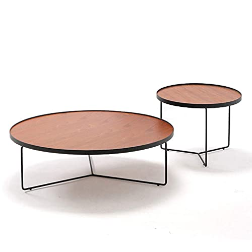WGFGXQ Nesting Couchtische Set für Wohnzimmer, runde Beistelltische Sofa Cocktail Tisch Moderne Massivholz Wohnmöbel mit Metallrahmen