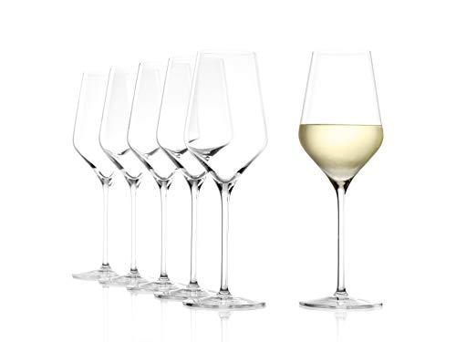 STÖLZLE LAUSITZ Calici da vino bianco Quatrophil 405ml I Set di 6 bicchieri da vino bianco I Infrangibili lavabili in lavastoviglie I Effetto soffiato I Cristallo pregiato I Alta qualità