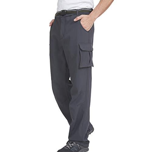 Men's Hiking Pants Windproof Snow/Snowboarding Insulated Pants Windbreaker/Waterproof Fleece Lined Warm Ski Pants (Gray, 36W x 30L)