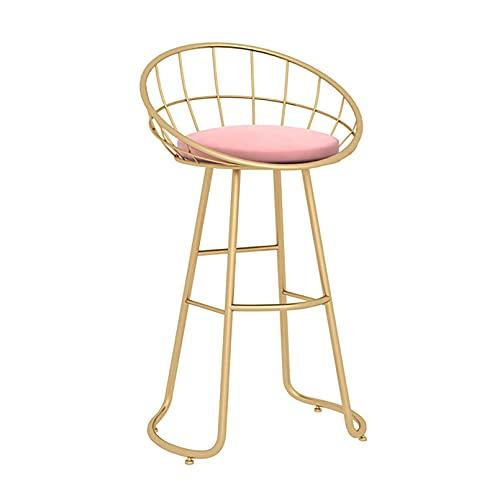 Sgabello da bar con schienale e poggiapiedi, sedie da bar ad altezza bancone per pub, caffè, casa, pranzo, cucina, sedile imbottito in velluto, gambe in metallo nero/oro - bianco/grigio/verde/rosa