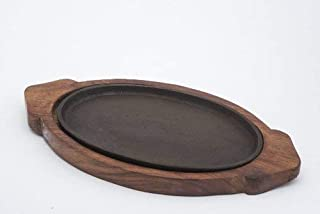 """DECORVAIZ Decor Wooden Sizzler Plate with Oval Base/sizzler Plate with Wooden Stand/sizzler Dish 13""""X 7"""", Brown, 1 Piece"""