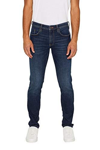 edc by ESPRIT Herren Stretch Washed Out-Effekt Slim Jeans, Blue Dark Wash 901, 32W / 32L