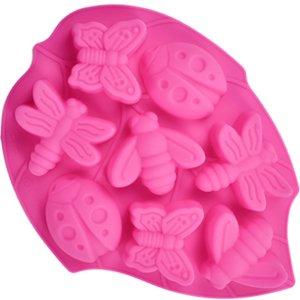 100 St. Silikon Backform Muffinform Muffin Kuchen Gelee Dessert Insekt Motive Schmetterlinge, Libellen, Käfer, und Bienen