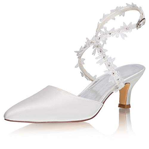 JIAJIA 5354A Zapatos de Novia para Mujer con Puntera Cerrada de 2.2