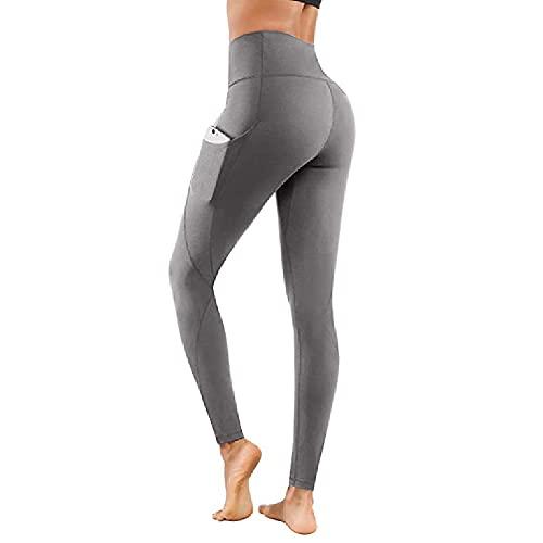 ZMMA Leggings de Yoga de Cintura Alta para Mujer con Bolsillo, Pantalones de Control de Barriga atléticos Suaves para Correr, Ciclismo, Entrenamiento de Yoga XL Gris