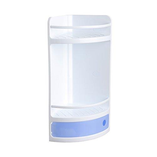 Tatay rinconera Material plástico Blanco, con cajón en Azul translúcido con práctica Apertura. Higiénica y fácil Mantenimiento. Medidas 20x20x50 cm