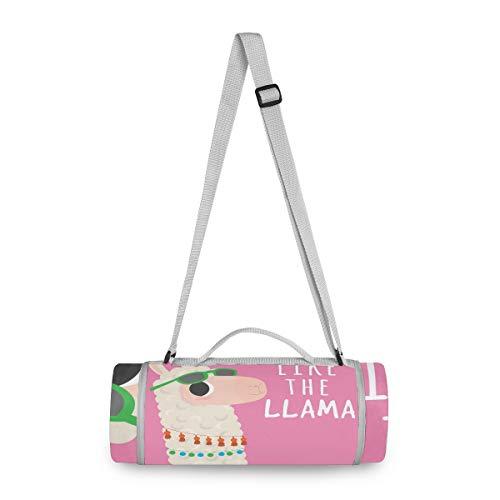 LORONA - Manta de picnic con cita en inglés 'Cute Alpaca With Quote' - Manta de picnic resistente al agua para exteriores, redonda, extragrande, 58.2 x 58.2 pulgadas, alfombra de playa de gran tamaño para viajes o camping