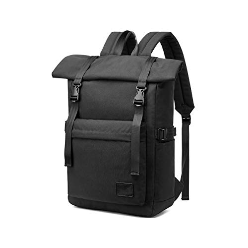 Travel Laptop Backpack, LOSMILE Casual Roll Top Backpack Rucksack 15.6 Inch Anti-Theft Laptop Bag School Bag Water Resistant Lightweight Daypack for Men Women, 25L-33L. (Black)